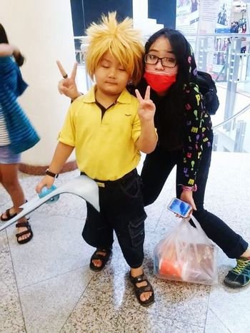 With sinyo That's Me Naruto Uzumaki Face Mask Cosplay Cosplayer Viskei