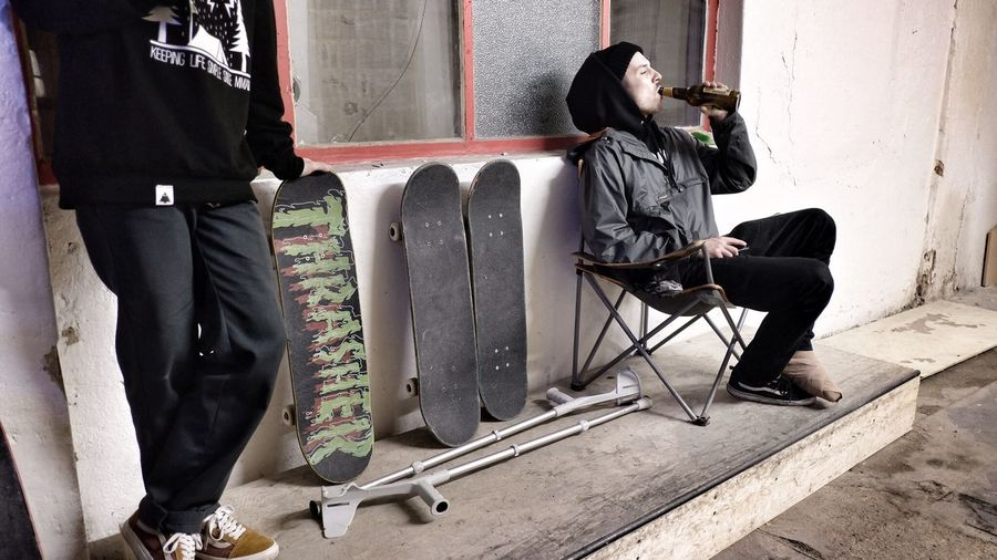 Adults Only Beer Ceske Budejovice Ceskebudejovice Chair Drinking Beer French Holes Injury Leg Cast Legcast Low Section Men Only Men People Real People Skateboarder Skateboards Two People