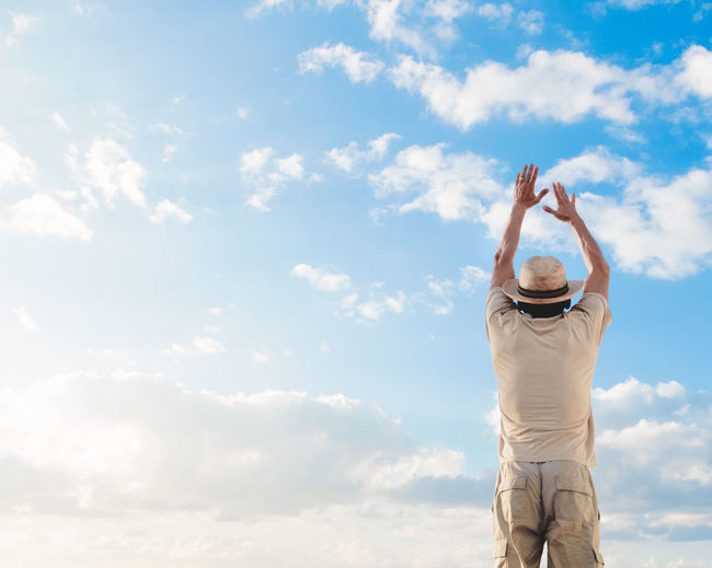 Arms Raised Cloud - Sky Day Leisure Activity Lifestyles Men Nature One Person Outdoors People Real People Sky Standing Let's Go. Together. This Is Masculinity
