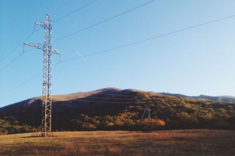Cable Crimea Electricity  Electricity Pylon Forest Fuel And Power Generation Hills Landscape Mountain Nature Non-urban Scene Power Cable Power Line  Power Supply Sky Technology Tranquil Scene Tranquility Ukraine