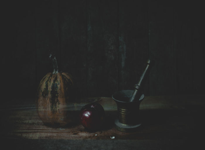 Still life Food And Drink Food Indoors  Still Life No People Table Healthy Eating Wellbeing Freshness Vegetable Wood - Material Fruit Pumpkin Close-up Jar Dark Container Glass - Material Black Background Studio Shot