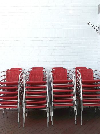 Chairs Stapled Red Chairs Cafe Chairs Garden Chairs White Wall Germany Geilenkrichen