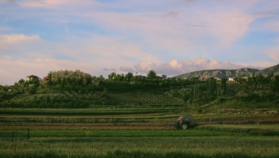 Fields Landscape Countryside Tractor Sky And Clouds Taking Photos Feeling Creative OpenEdit EyeEm Best Shots Freshness EyeEm Nature Lover Nature Rural Scene Agriculture Sunset