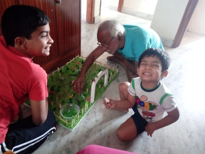 Adult Togetherness Two People Playing Men People Son Indoors  Happiness Day Child Males  Childhood Sitting Zoo Animals  Model Science Project My Grandsons