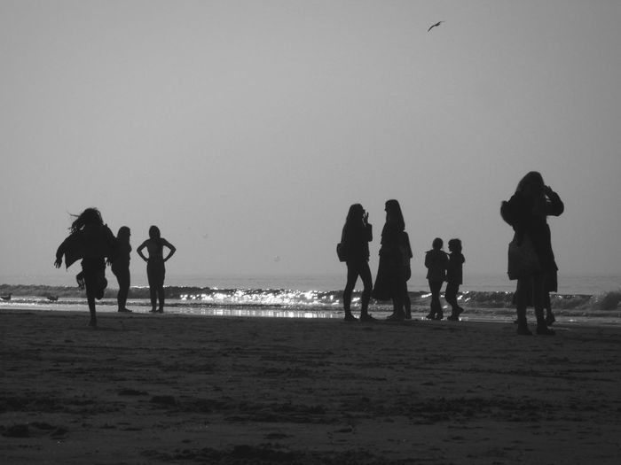 Sea Beach Full Length Water Sand Silhouette Sport Sky Large Group Of People Mixed Age Range Wave