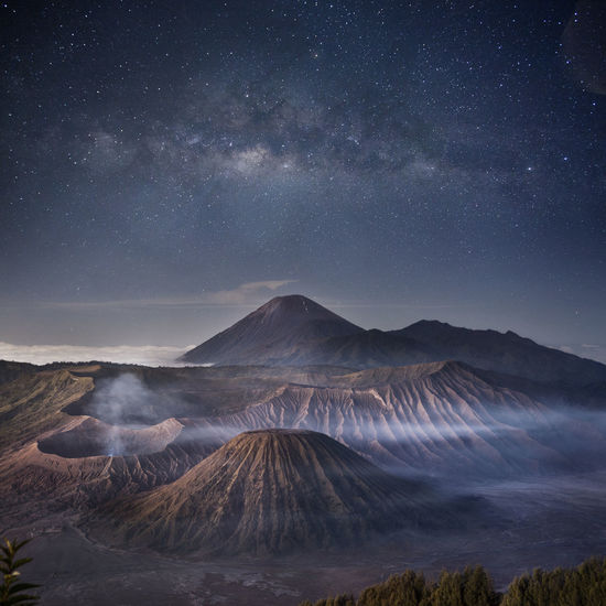 INDONESIA Astronomy Beauty In Nature Bromo Mountain Environment Galaxy Geology Landscape Milky Way Mountain Mountain Range Nature Night Non-urban Scene Outdoors Physical Geography Power In Nature Scenics - Nature Sky Space Star - Space Tranquil Scene Tranquility Volcanic Crater Volcano