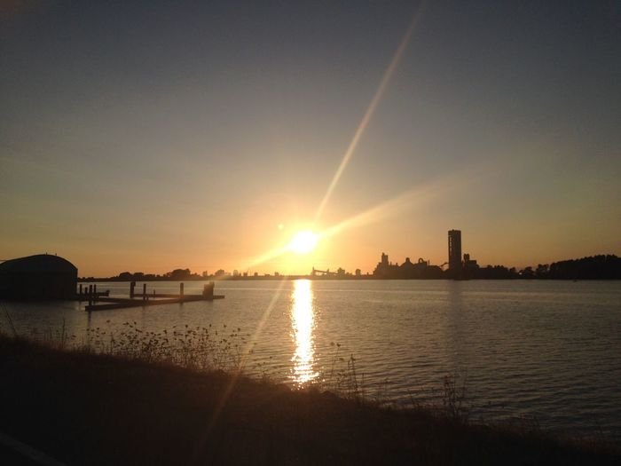 River Water Sky Sunset Beauty In Nature Scenics - Nature Sun Sunlight Outdoors