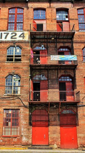 Doors And Windows Architecture Building Exterior Repurposed Paterson New Jersey Industrial Area Red Historic