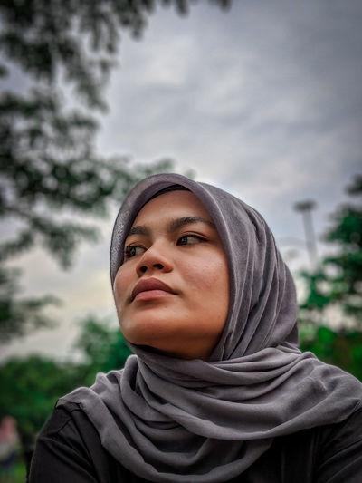 Close-up of young woman wearing hijab