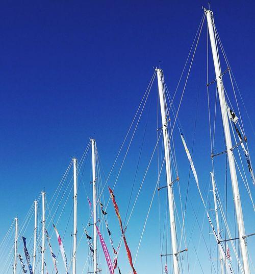 Sky Blue Clear Sky No People Outdoors Sailing Sea Travel Sailing Boat Sailboats Tacking Sailboat Masts