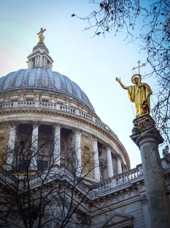 Low Angle View Human Representation Statue Built Structure Architecture Sculpture Sky Clear Sky No People Architectural Column Outdoors Tree Day Dome Building Exterior Bare Tree Place Of Worship St Paul's Cathedral Metal Spikes Everyday History London Out And About