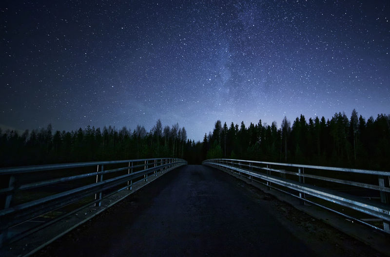 Footbridge and trees against star field at night