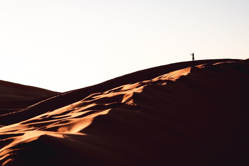 Sahara Morocco Landscape Photography Tourism Fujifilm Minimalism Adventure Nature Camping Morocco Travel Selfie Sand Desert Sunset Sky Copy Space Clear Sky Nature Beauty In Nature Scenics - Nature Tranquility Silhouette Remote Landscape Low Angle View