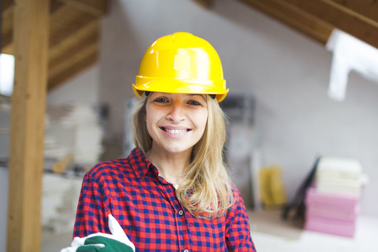 Portrait of smiling woman working