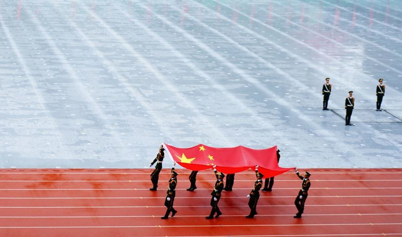 Red Soilder Chinese Army China Parade National Park Chinese Flag Nationalism Ceremony Military Parade Chinese Military Jingoism İnternational Relations ASIA Politics And Government Politics Foreign Policy Chinese Soldier