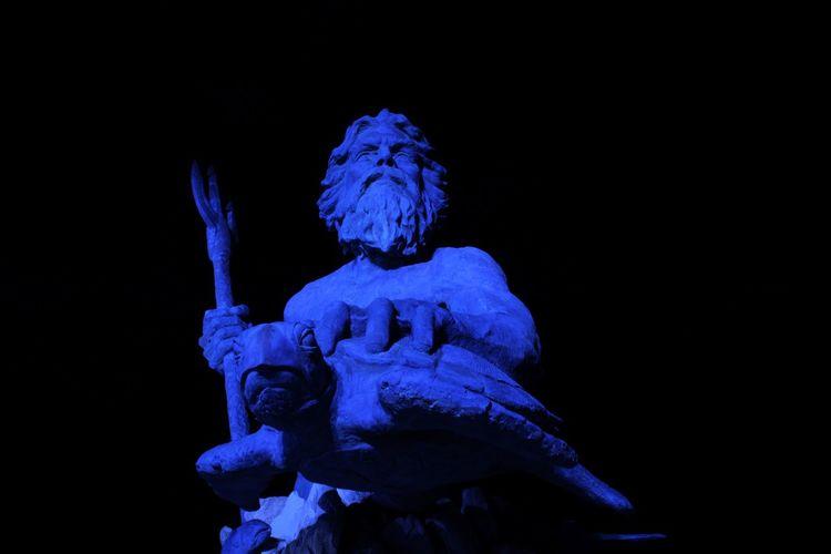 Black Background Blue Boardwalk Human Representation Neptune Night No People Ocean Statue Statues
