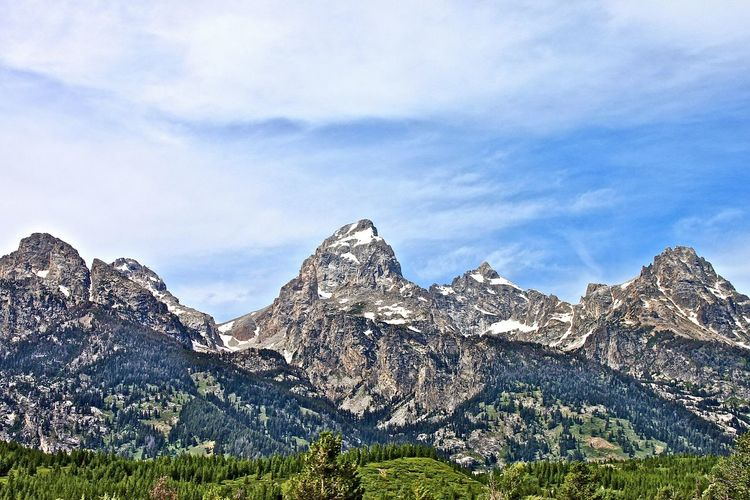 Scenic view of rock mountains at grand teton national park