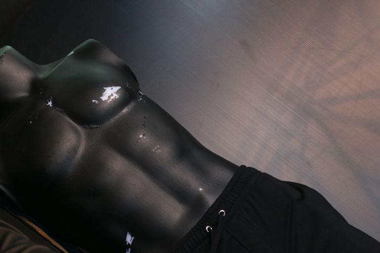 High angle view of man lying down