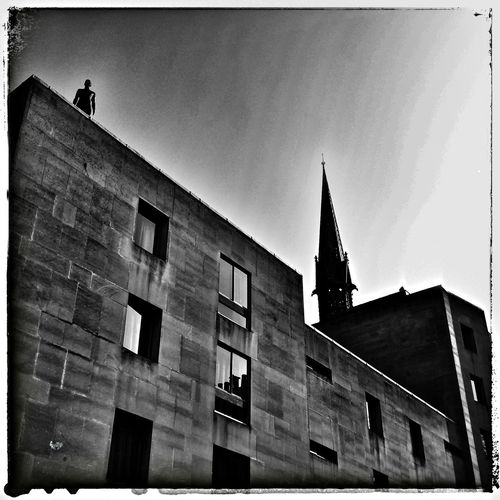 Jumping or watching? Street Observation architecture shapes black & white Cityscape fun with filters Oxford