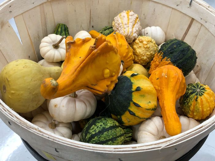 High angle view of pumpkins in basket