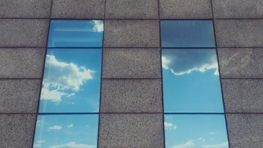 Reflection of sky on windows