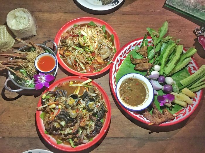 Thai food Meal Papaya Salad Somtum Tard Somtum Pu-plarha Asia Food Thai Food Food And Drink Food High Angle View Freshness Bowl Table No People