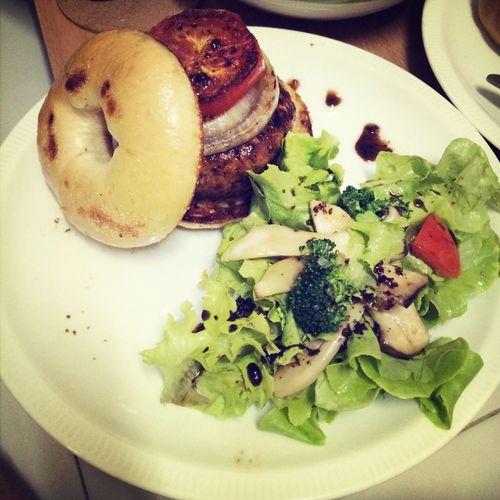 Bagel pork hamburg with salad balsamic!! Yummy!! For dinner Enjoying Life