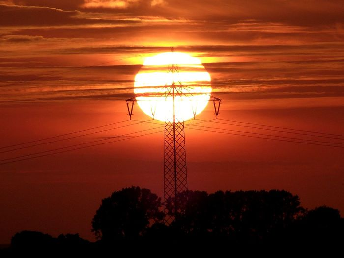 Beauty In Nature Cable Cloud Cloud - Sky Dark Idyllic Landscape Majestic Nature No People Non-urban Scene Orange Color Outdoors Outline Power Line  Power Supply Remote Scenics Sky Sonnenuntergang ❤ Sun Sunset Tranquil Scene Tranquility