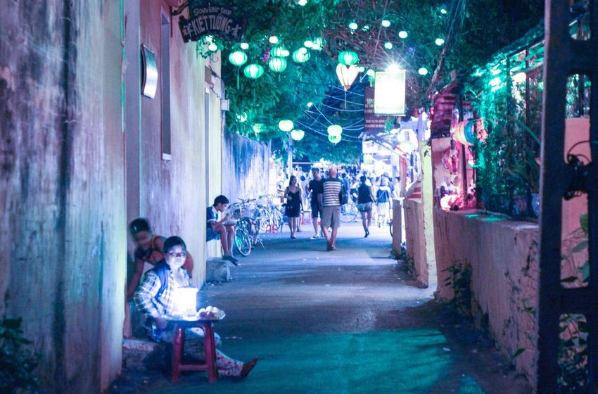 Built Structure Architecture Person Full Length Building Exterior Narrow Group Of People Illuminated Alley Retail  The Way Forward Long Lifestyles Vietnam Hoian  Lights Lighting Equipment
