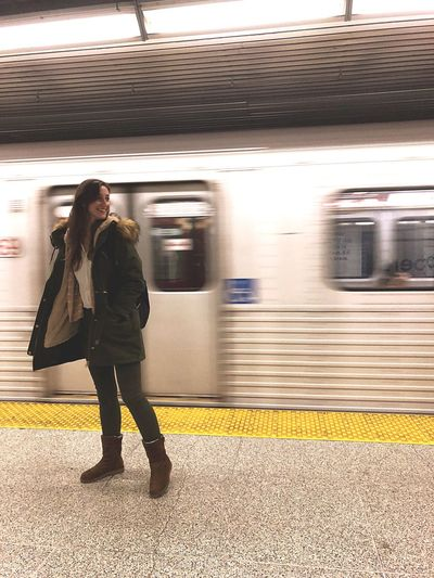 Speed EyeEm Best Shots EyeEmNewHere Happy Rail Transportation One Person Mode Of Transportation Travel Transportation Railroad Station Platform Full Length Public Transportation Blurred Motion Women Train Waiting Motion Real People Station 2018 In One Photograph It's About The Journey EyeEmNewHere My Best Photo