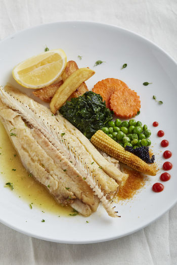 High angle view of meal served in plate