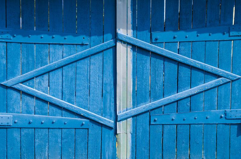 Full frame shot of blue metal door