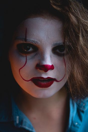 They all float Clown IT Creepy Horror Doll Canon Sfx Makeup Makeup Portrait One Person Headshot Make-up Looking At Camera Real People Close-up Women Front View Young Women Lipstick Lifestyles Young Adult Leisure Activity Body Part Indoors  Paint Face Paint Human Body Part Beautiful Woman