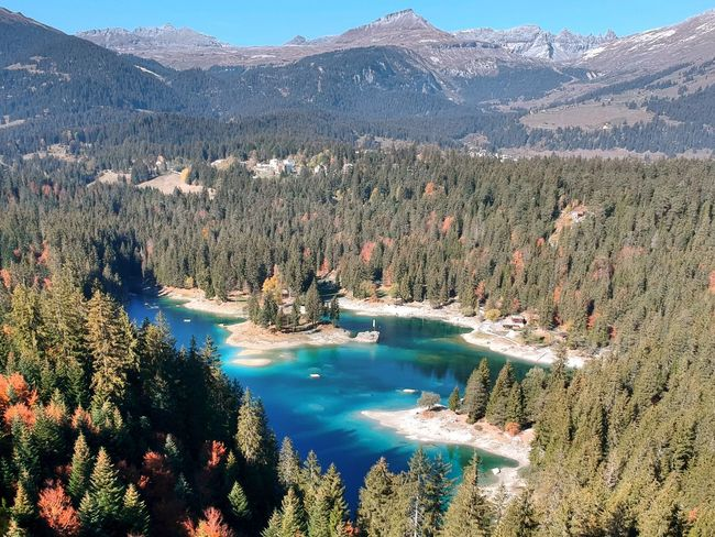 Dronephotography Caumasee Water Scenics - Nature Mountain Beauty In Nature Plant Tranquil Scene Tranquility Tree Nature Lake No People High Angle View Remote Growth