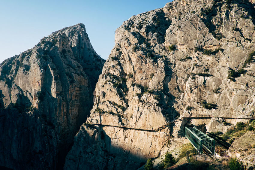 """The """"Caminito del Rey"""" was the most dangerous hiking trail in the world El Chorro Hiking Rock Beauty In Nature Caminito Del Rey Climbing Dangerous Day Hiking Trail Landscape Mountain Mountain Hiking Mountains Nature No People Outdoors Rock - Object Rock Climbing Rocky Mountains Scenics Sky"""