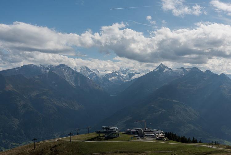 Berge Grossglockner Himmel Pinzgau Salzburger Land Schmittenbahn Schmittenhöhe Spätsommer  Wolken Zell Am See Bergstation Österreich