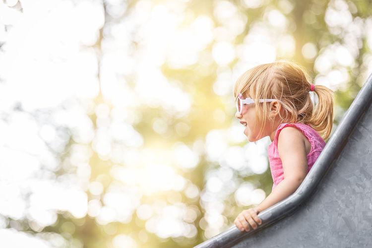 Portrait of smiling girl in park