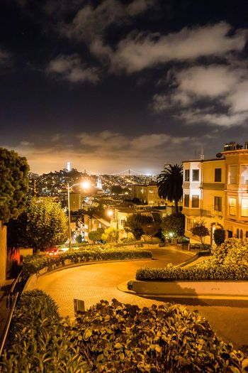Building Exterior Architecture Built Structure Cloud - Sky Sky Plant Tree City Nature Illuminated Building Residential District Water Street No People Outdoors Sunset Night Street Light Lombard Street