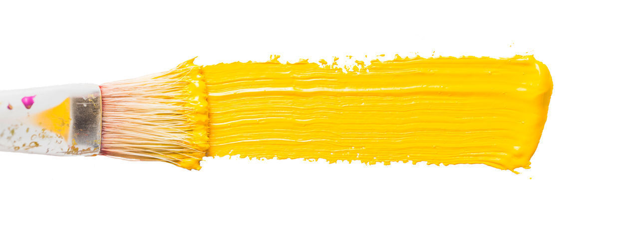 Abstract Yellow Paint Gouache on a White Background | Yellow Gouache on White Background Abstract Photography Art Colors Paint Yellow Yellow Paint Brush Close-up Isolated White Background Vintage Watercolor Stain Of Paint Strokes Of Colors Splattered White Background Studio Shot Paint Brush Artist Artistic