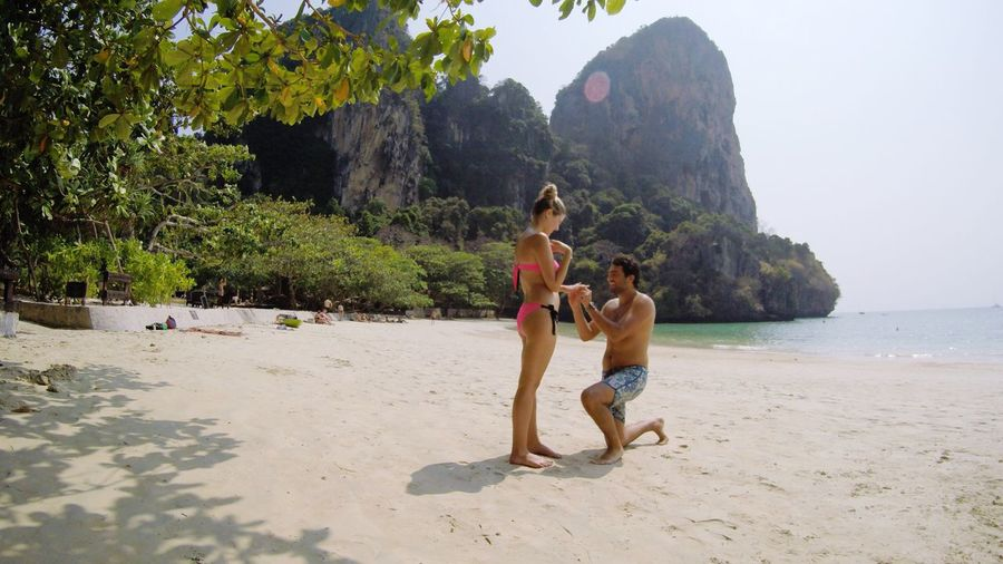 Done That. Beach Thailand Proposal Vacation Nature Sand Togetherness Real People Shirtless Beauty In Nature Tree Island Love Couple Railey Beach - Rock - Object Connected By Travel