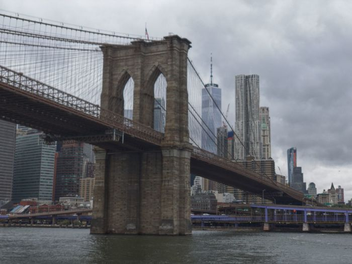 Cloudy Day in NYC WTC Brooklyn Bridge Built Structure Bridge - Man Made Structure Connection Transportation Skyscraper Travel Destinations First Eyeem Photo