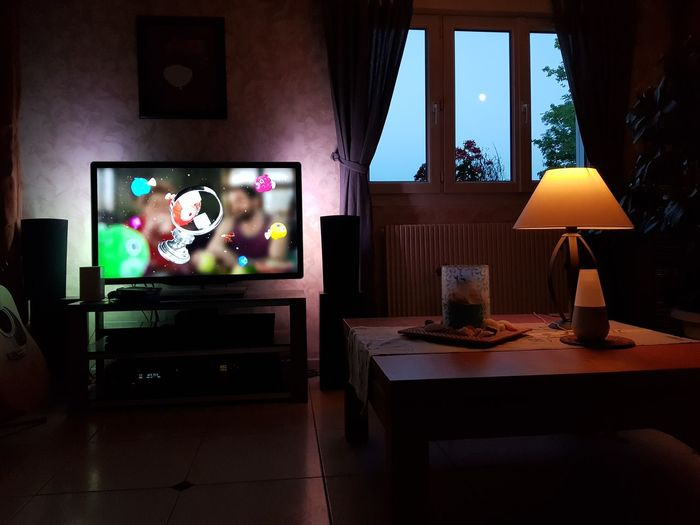 Indoors  No People Living Room Night Lights Blue Sky Moon Tv Living Room View