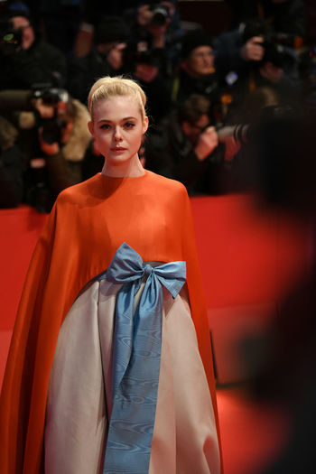 Berlin, Germany - February 15, 2018: American actress Elle Fanning on the red carpet at the 68th Berlinale International Film Festival premiere of the movie Isle Of Dogs Actors Event Fashion Film Festival Premiere Actress Arts Arts Culture And Entertainment Berlinale Berlinale 2018 Berlinale Festival Berlinale2018 Dress Elle Fanning Entertainment Entertainment Event Evening Gown Fashion Fashion Model Fashion Show People Red Carpet Star Testimonial Young Adult