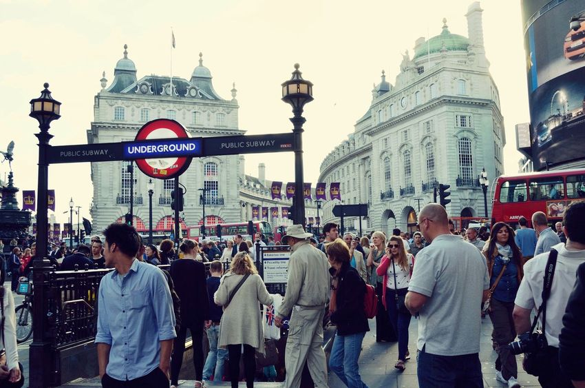 a wonderful day in Piccadily Circus London Subway City Horizontal Large Group Of People Person People Architecture Day Archival Sky Outdoors Dome London Lifestyle Postcode Postcards