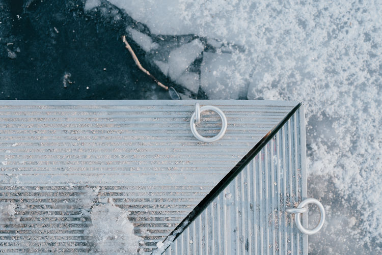 Close-up of a structure at a frozen lake front