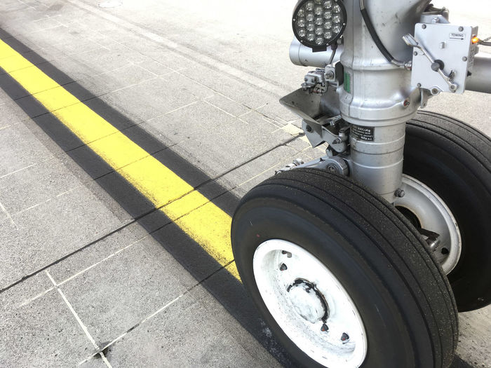 Aircaft Airplane Close-up Landing Gear Landing Gears Down! Mode Of Transport Nose Gear Outdoors Technology Tire Transportation Wheel Yellow