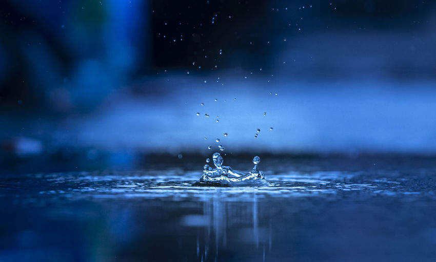 Close-up of drop falling on water