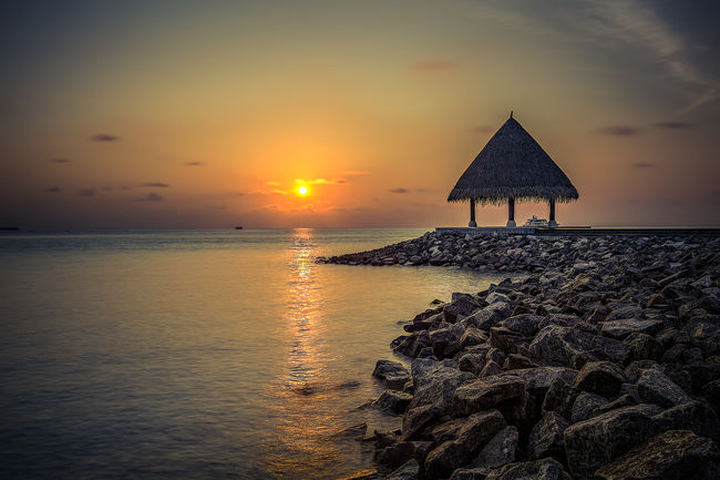 Beautiful Maldives Sunset Beach Calm Clouds Coastline Horizon Over Water Light Maldives Ocean Outdoors Sand Sea Shore Sunstet Tranquil Scene Tranquility Vacations Water