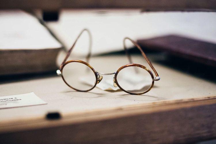 Eyeglasses Displayed On Table At Museum