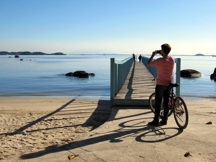 Ilhadepaqueta One Person Full Length Beach Adult Rear View Clear Sky People Sky Water Tranquility Port Brazil Riodejaneiro Ilha Island
